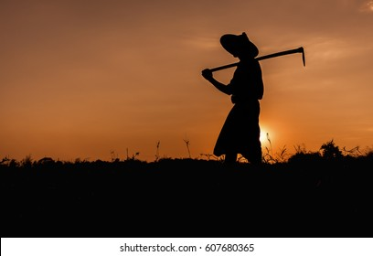 Silhouette man In myanmar