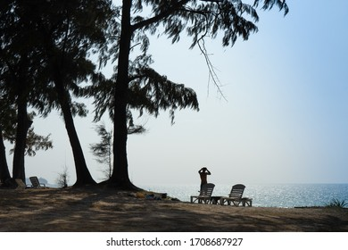 silhouette of a man on the beach