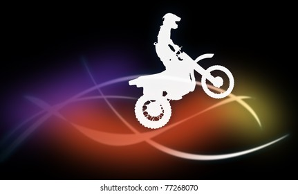 Silhouette of a man on a motorcycle on a dark background on the multicolored lines on a dark background on the multicolored lines