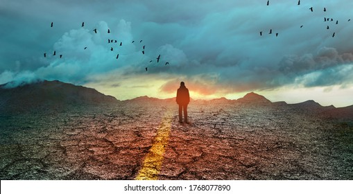 silhouette of a man on the road, concept of uncertainty and obscurity of future