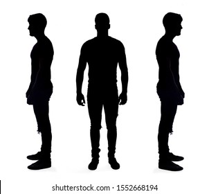 silhouette of a man on white on background