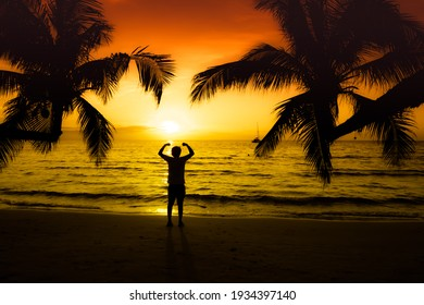Silhouette of man raise up his hand or Open arms standing with palm tree in the beach during sunset
