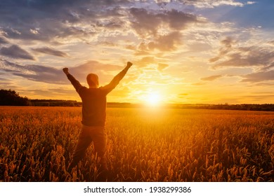 Silhouette of a man raise his hands up to sunset or sunrise on the field with young rye or wheat in the summer with a cloudy sky background.