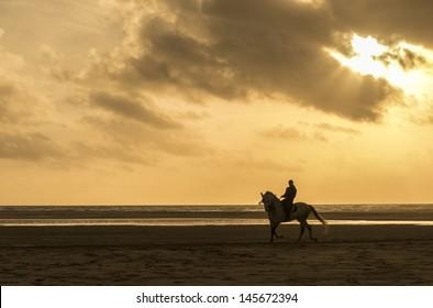 A silhouette of a man riding his horse along a beautiful beach in tarifa spain