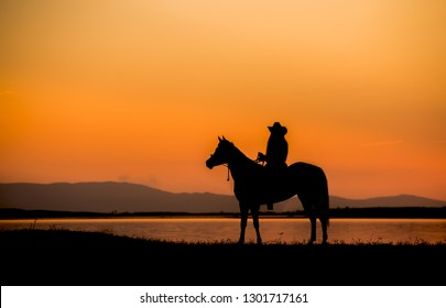 The silhouette of the man riding a horse by the reservoir at sunset.