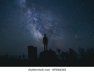 Silhouette of man staring up at the stars