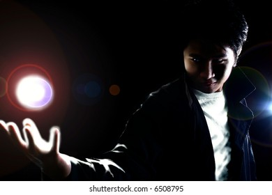 silhouette of man with supernatural power