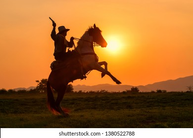 The silhouette of a man wearing a cowboy dress with a horse and a gun held in his hand