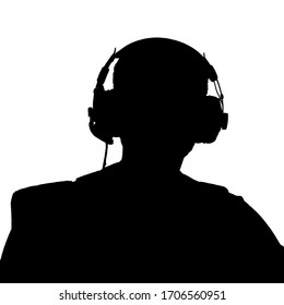 silhouette of a man wearing spy headphones