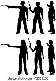 A silhouette man and woman shoot a target pistol in three stances.