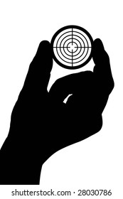 The silhouette of a man's hand holds a target. Isolated on white [with clipping path].