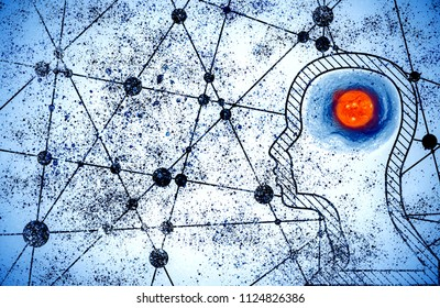Silhouette of a man's head. Mental health relative brochure, report design. Scientific medical designs. Grunge brush drawing. Galaxy as brains. Elements of this image furnished by NASA