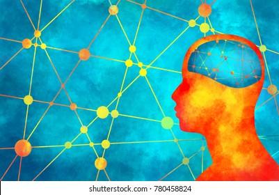 Silhouette of a man's head. Mental health relative brochure, report design. Scientific medical designs. Grunge brush drawing