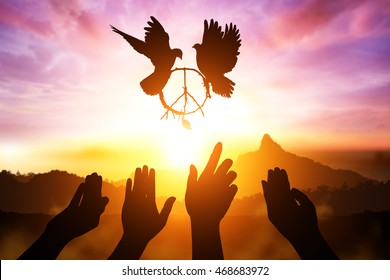 Silhouette of many helping hand desire to pacification sign shape flying on sunset sky for freedom concept and  international day of peace 2017