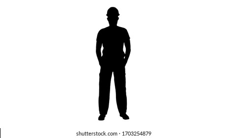 Silhouette Masked construction man in hardhat.