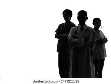 Silhouette of Medical doctor and nurses. - Shutterstock ID 1493222825