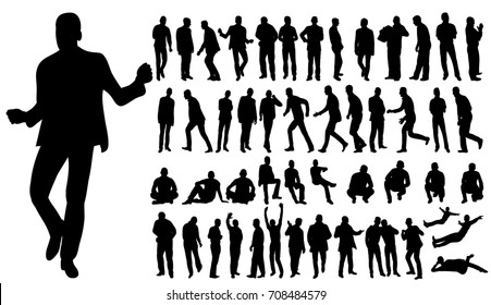 silhouette of men business, collection