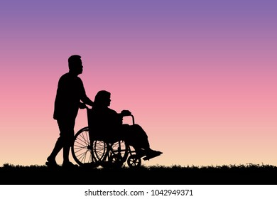 Silhouette men carry a wheelchair with the elderly.