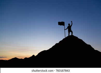 Silhouette of men holding flag celebrating success on top of hill, sky and sun light background. Business, successful, leadership, achievement, teamwork and goal concept.