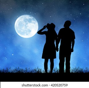 """Silhouette of men and women holding hands in night.  """"Elements of this image furnished by NASA""""."""