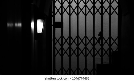silhouette of a metal cage slide door in the night