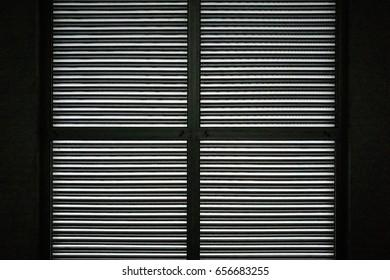 Silhouette metal shutters window background