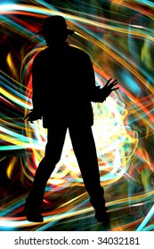 A silhouette of a Michael Jackson like dancer on colorful light streaks.