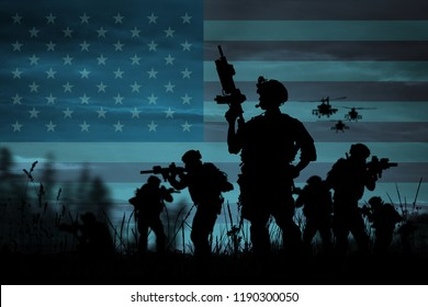 Silhouette of military soldiers with weapons dark background. Law and military concept.