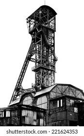 silhouette of mining tower in black and white with high contrast