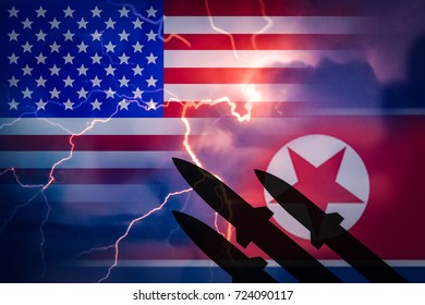 Silhouette of missiles against the background of the flag of North Korea and the US flag and lightning in the background. Symbolizes the aggression of North Korea to the United States.