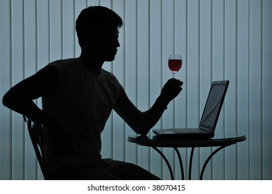 Silhouette of modern casual man