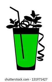 silhouette of a mohito cocktail with sprig of mint, spiral of lime peel and tubule