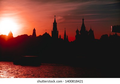 Silhouette of the Moscow Kremlin at sunset. View from the Moskva river embankment. Russia, 2019