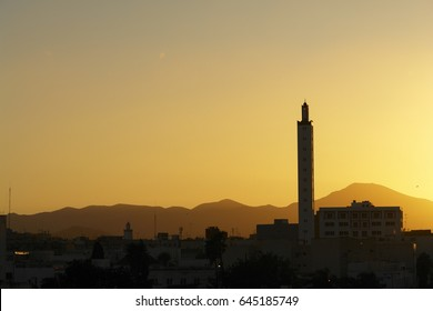 Silhouette of a mosque in Africa