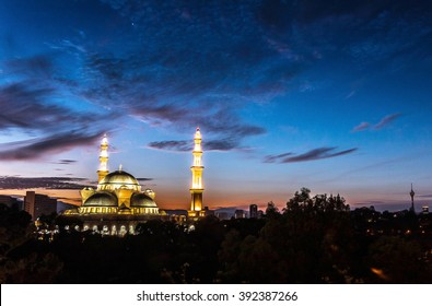 Silhouette Of A Mosque during Amazing Sunrise.