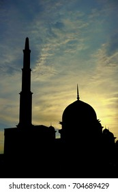 silhouette of mosque during sunset.