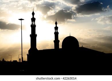 Silhouette of mosque in Saudi Arabia.