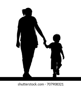 Silhouette of a mother holding her son isolated on white background