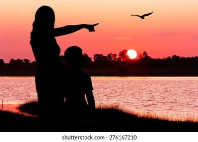 silhouette of mother hugging her son use hand point eagle fly on the sky at sunset