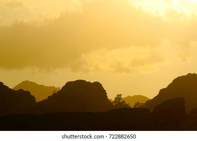 Silhouette mountain background with copy space