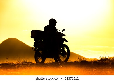 silhouette of the mountain motor drive