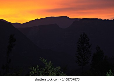 Silhouette of the mountains around the Gocta waterfall. Andean sunset