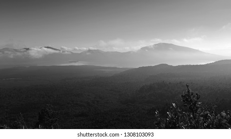 Silhouette of mountains as viewed from Mount Tongariro in New Zealand