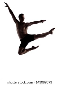 Silhouette of an muscular adult male modern contemporary ballet style dancer. Dancer is wearing black ski pants and is isolated on a white background.