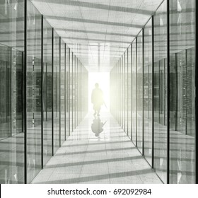 Silhouette of a mysterious man walking down a glass corridor.