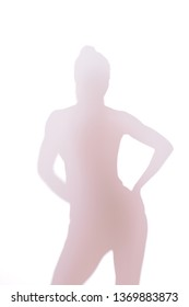 silhouette of a naked girl on a white background