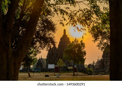 Silhouette nature frame view of Thousand Temple or CANDI SEWU, located in central Java, Indonesia, near Yogyakarta city. Its one temple looks like Prambanan temple.