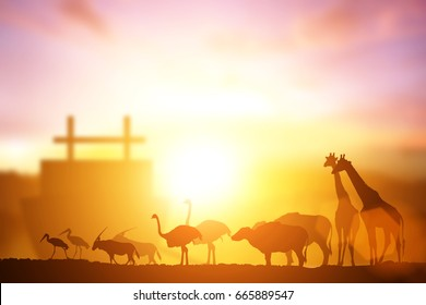 Silhouette of Noah's Ark with animal walk to the big boat on sunset light