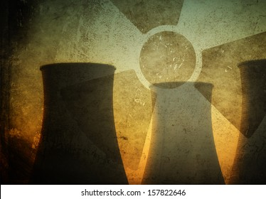 Silhouette of Nuclear Power Plant
