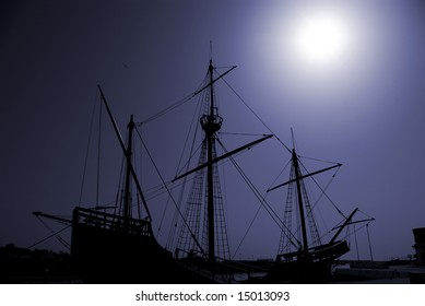 Silhouette of an old Portuguese caravel replica.